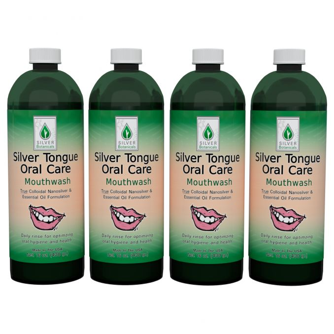 Four-Pack of Silver Tongue Oral Care - Mouthwash, 16 fl oz.
